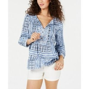 NWT Tommy Hilfiger Boho Pinktuck Blouse Size Small